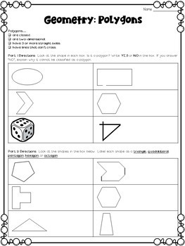 Geometry Worksheets for third grade by Deb Hanson | TpT