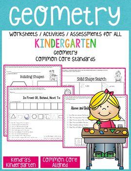 Geometry Worksheets/Activities - Kindergarten Common Core