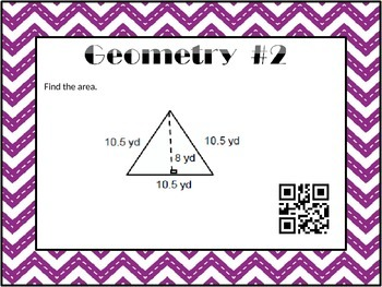 Geometry and Area Task Cards with QR Codes
