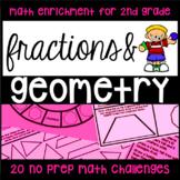 Geometry and Fractions - 20 NO PREP Math Challenge Printab