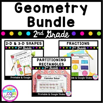 Geometry and Fractions Bundle  -2nd Grade Common Core 2.G.A.1, 2.G.A.2, 2.G.A.3