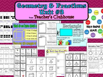 Geometry and Fractions Unit #3 from Teacher's Clubhouse