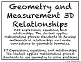 Geometry and Measurement 3D Relationships Task Cards