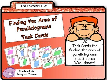 Geometry and Measurement - Area of Parallelograms Task Cards