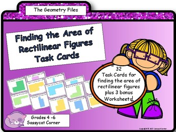 Geometry and Measurement - Area of Composite, or Rectilinear Figures Task Cards