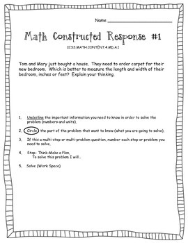 Math Constructed Response - Geometry and Measurement