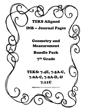 Geometry and Measurement INB Bundle Pack - 7th Grade TEKS