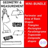 Geometry and Measurement Perimeter and Area of Basic Shapes Mini Bundle