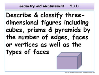 Geometry and Measurement Standards for Minnesota Grade 5