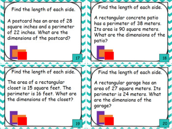 geometry and measurement task cards area and perimeter word problems. Black Bedroom Furniture Sets. Home Design Ideas