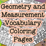 Geometry and Measurement Vocabulary Coloring Pages