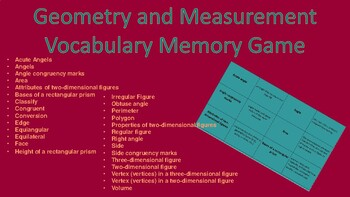 Geometry and Measurement Vocabulary Memory Game