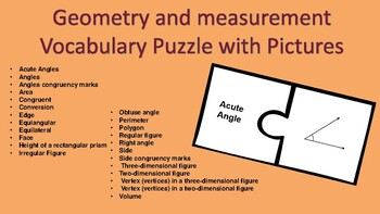 Geometry and Measurement Vocabulary Puzzle With Pictures