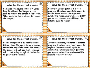 Geometry and Measurement - Area and Perimeter Costs Word Problems
