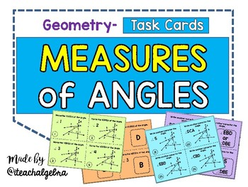 Geometry and Middle School Math Angle Measure Task Cards