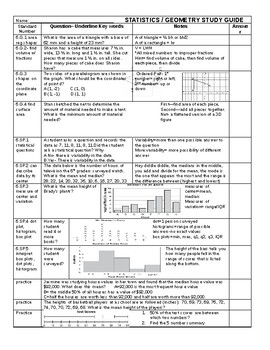 Geometry and Statistics 6th grade Study Guide