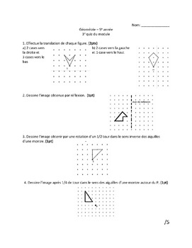 Grade 5 Geometry and Transformation Quizzes (French)