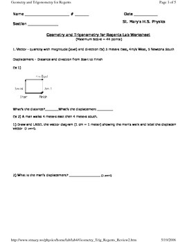 Geometry and Trig / Vectors - High School Physics