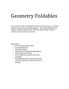 Geometry and polygons foldables