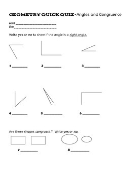 Geometry-angles and congruence quiz