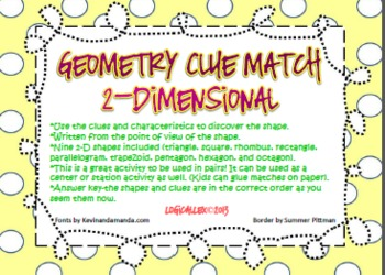 Geometry clue match up!