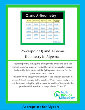 Powerpoint Q and A Game - Geometry in Algebra