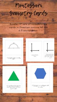 BUNDLE!! Geometry nomenclature card in d'nealian cursive