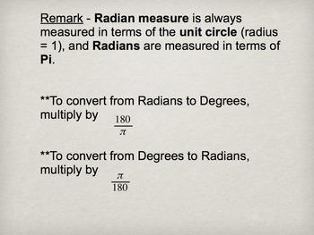 Geometry or Trigonometry Radians Slide Presentation (2 day) Bundle