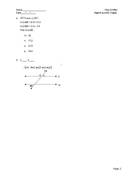 Geometry quiz- Angles properties (traversals, linear pairs...etc.)