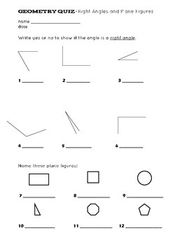 Geometry-right angles and plane figures quiz