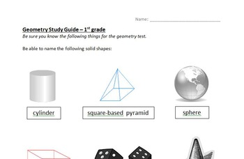 Geometry study guides and tests - 1st, 2nd, 3rd grade