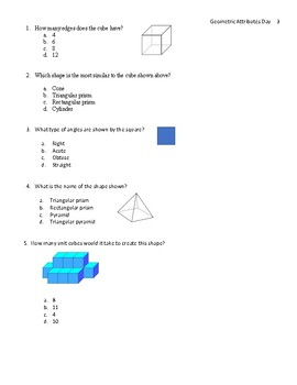 Geometry test prep questions