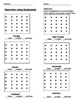 Geometry using Geoboards