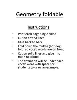 Geometry vocabulary foldable by Just a Glimpse | Teachers Pay Teachers