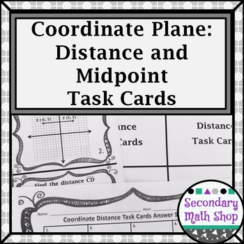 distance and midpoint on the coordinate plane task cards by