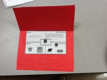 Geometry Shapes Foldable with Frayer Model Graphic Organizer