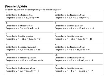 Geomety VersaTile/Card Sort Writing Equations of Circles Given Lines of Tangency