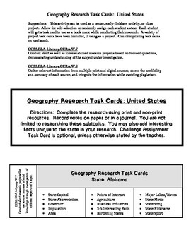 Geography Research Task Cards:  United States