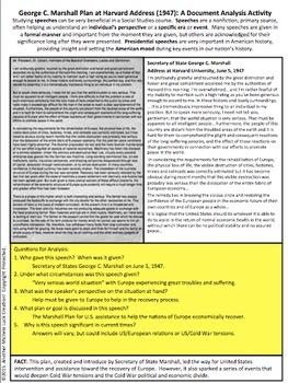George C Marshall Plan Harvard Cold War Speech Document Analysis