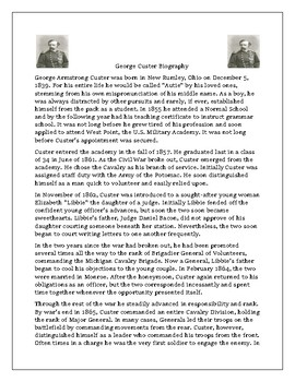 George Custer Biography and Comprehension Questions
