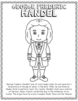 George Frederic Handel, Famous Composer Informational Text Coloring Page Craft