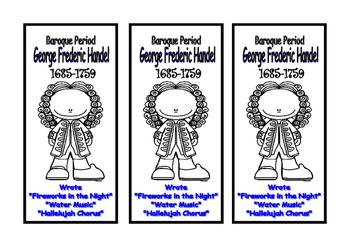 George Frideric Handel Craft Bookmark