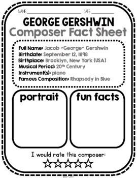 CLASSICAL MUSIC - George Gershwin Composer Listening Activities, September