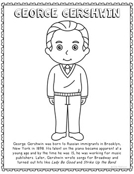 George Gershwin, Famous Composer Informational Text Coloring Page Craft
