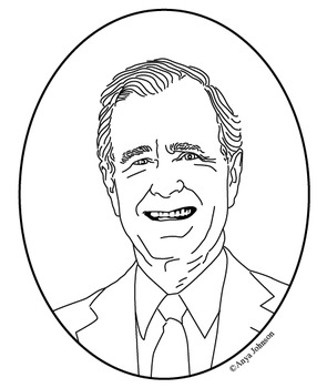George H. W. Bush (41st President) Clip Art, Coloring Page or Mini Poster