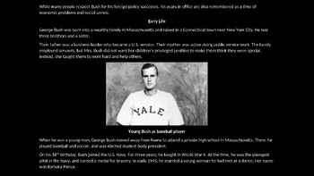 George H. W. Bush PowerPoint Biography with Review Quiz