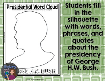 George HW Bush Coloring Page and Word Cloud Activity