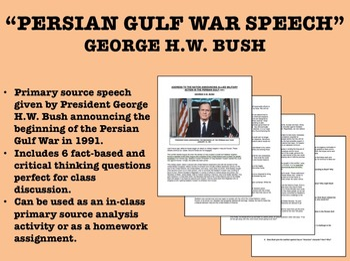 George H.W. Bush - Persian Gulf War Speech - Global/World/US History/APUSH