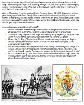 George III Biography and Primary Source Letter