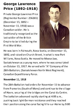 George Lawrence Price Last Canadian Soldier Killed in WW1 Handout